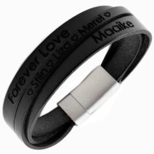 driedubbele armband met gravering
