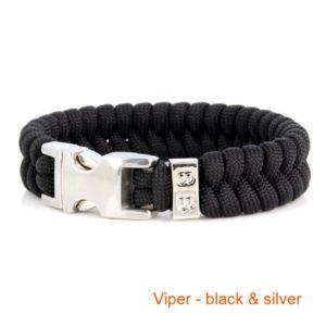 Gevlochten_Paracord_Armband_Viper_Black_Silver