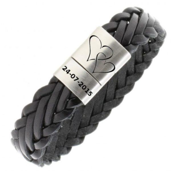 Gevlochten_gepersonaliseerde_armband_31-BA0993_gevlochten_armband_met_ gravering_zwart1