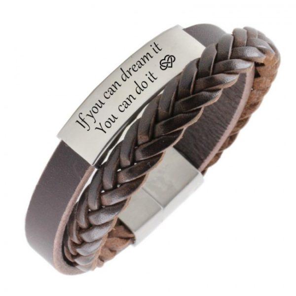 Armband_met_graveerplaat__gepersonaliseerde_armband_bruin1