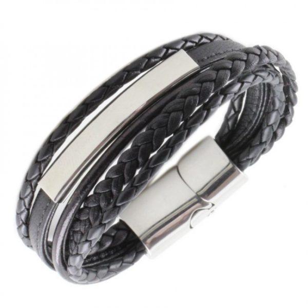 BA103_armband_met_graveerplaat_zwart1