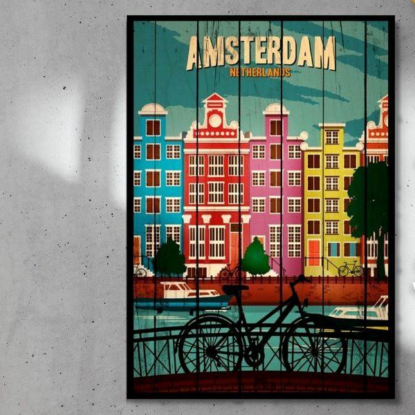 print_op_hout_Amsterdam_planken_zwart