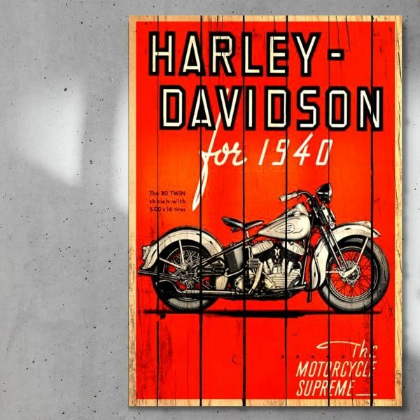 print_op_hout_Harley_Davidson_planken_hout