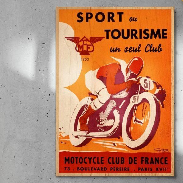 print_op_hout_Motorcycle_Club_de_France_paneel_hout